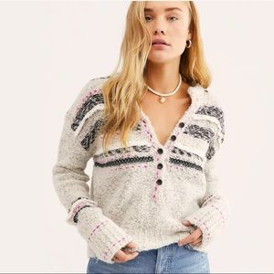 FREE PEOPLE COLOR POP HENLEY PULLOVER SWEATER